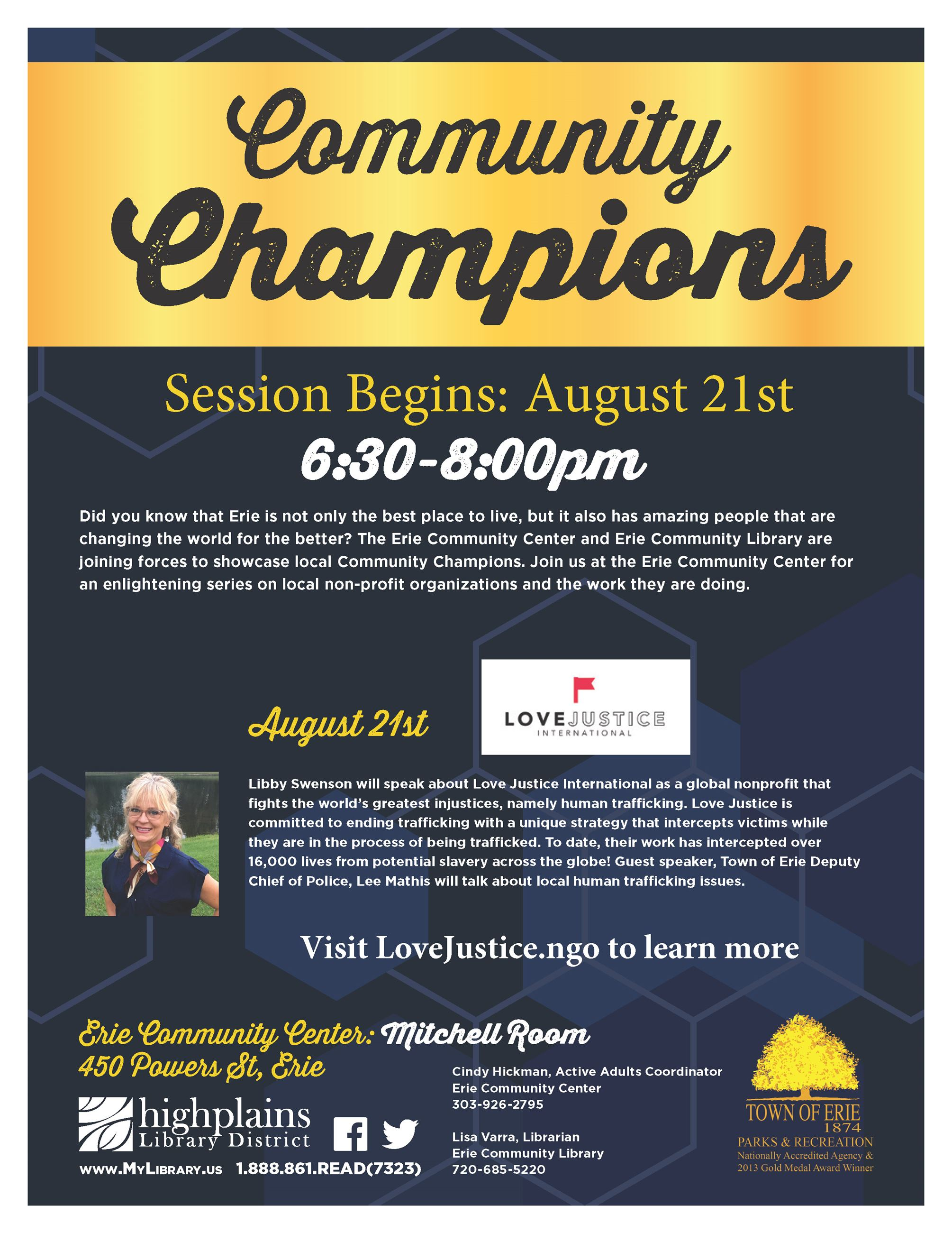 Community Champions Poster for August 21 event