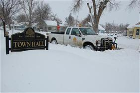 Plowing in front of Town Hall